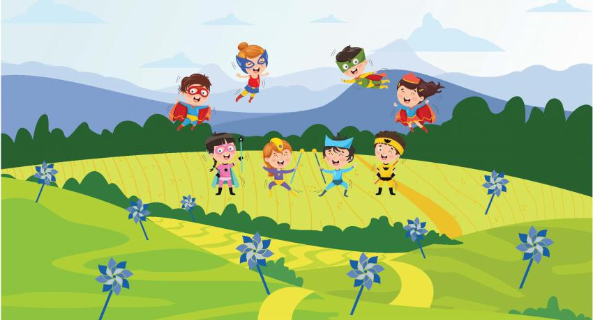 Cartoon of children heroes
