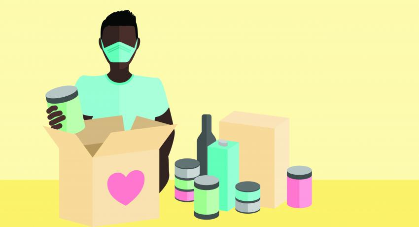graphic of man wearing mask with food supplies in a box