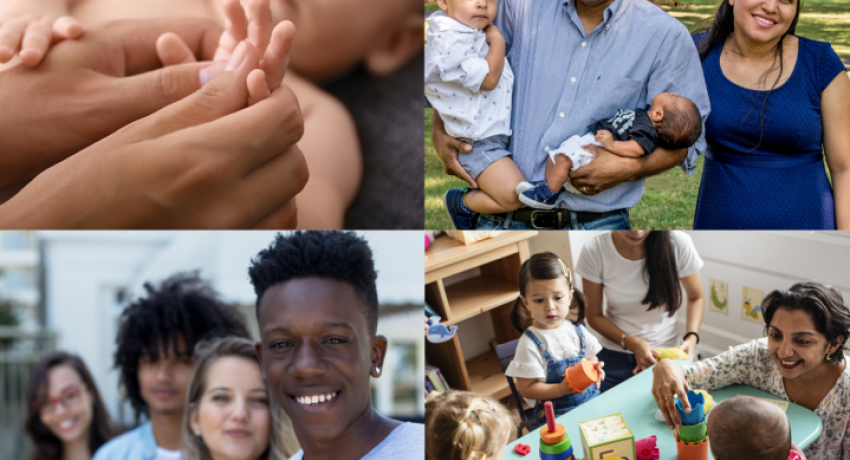 A composite of several images including an infant and caregiver, a young family, a group of adolescents, and children in a preschool setting.